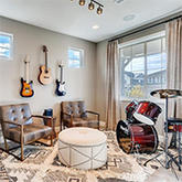 Music room in the Sierra model home by Dream Finders Homes at Harmony just outside Aurora, Colorado
